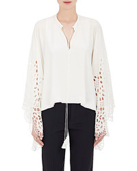 Chloé Chlo Eyelet Embroidered Silk Blouse
