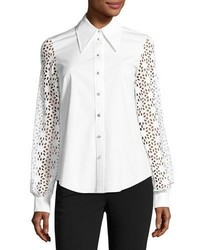 Michl kors collection eyelet sleeve poplin blouse white medium 3725569