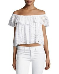 Rebecca Minkoff Celestine Off The Shoulder Eyelet Top White