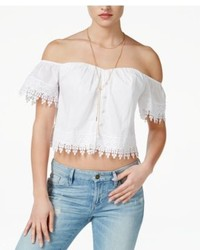 GUESS Emma Eyelet Off The Shoulder Top
