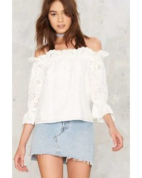 Factory Eyelet It Slip Off The Shoulder Top