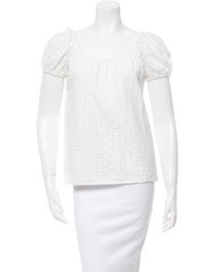 Tibi Eyelet Off The Shoulder Top