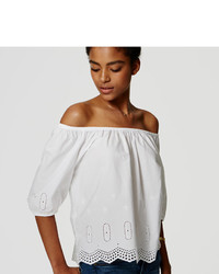 LOFT Petite Eyelet Off The Shoulder Blouse