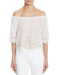 Polo Ralph Lauren Off The Shoulder Cotton Eyelet Top
