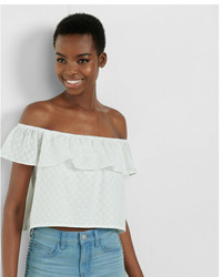 Express Off The Shoulder Eyelet Flounce Top