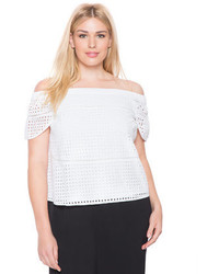 ELOQUII Plus Size Studio Eyelet Off The Shoulder Top