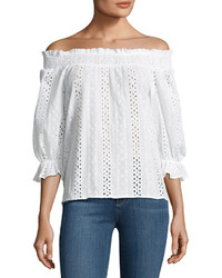 J.o.a. Smocked Off The Shoulder Eyelet Top White