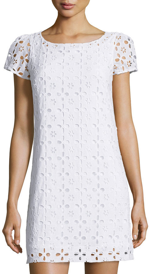... Last Call by Neiman Marcus › Milly › White Eyelet Shift Dresses Milly  Chloe Eyelet Short Sleeve Dress White ... 1574d92867faa