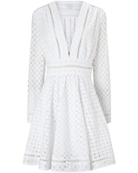 Zimmermann White Cotton Broderie Mini Dress