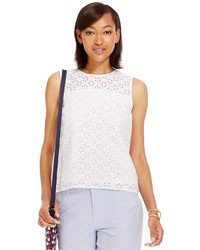 Tommy Hilfiger Eyelet Overlay Sleeveless Top