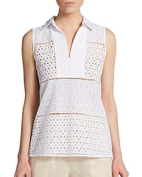 August Silk Eyelet Paneled Cotton Top