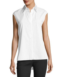 Helmut Lang Eyelet Sleeveless Button Front Poplin Top
