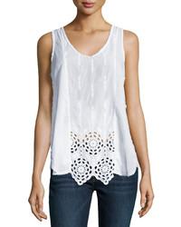 Johnny Was Sleeveless Eyelet Blouse White