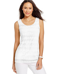 Charter Club Sleeveless Eyelet Lace Top