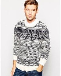 White Fair Isle Crew-neck Sweaters for Men | Men's Fashion