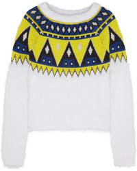 Aimo Richly Fair Isle Angora And Wool Blend Sweater