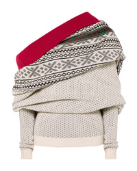 Y/Project Fair Isle Off The Shoulder Merino Wool Sweater