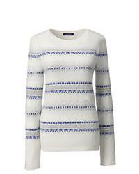 Lands' End Petite Cashmere Fair Isle Stripe Sweater Bavarian Creme Fairisle Stripe