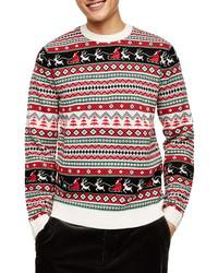 Topman Santas Rounds Fair Isle Christmas Sweater