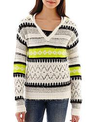 Long sleeve fair isle eyelash hoodie medium 125053