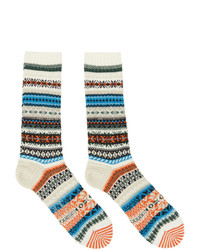 Yohji Yamamoto Off White Intarsia Fairisle Socks
