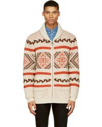 White Fair Isle Zip Sweater