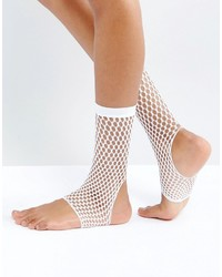 Asos Stirrup Fishnet Ankle Socks In White