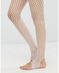 Stirrup fishnet tights in white medium 3764583