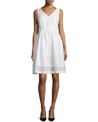Kate Spade New York Ribbon Organza Fit And Flare Dress Fresh White