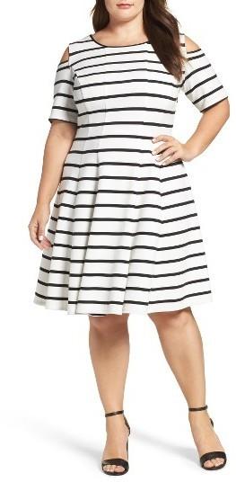 $108, Gabby Skye Plus Size Cold Shoulder Fit Flare Dress