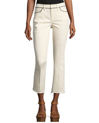 Tory Burch Sara Boot Fit Cropped Jeans Off White