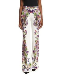 Roberto Cavalli Bell Heather Printed Flared Trousers Whitemulti