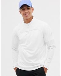 White Fleece Zip Neck Sweater