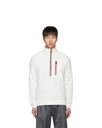 MONCLER GRENOBLE White Fleece Half Zip Sweater