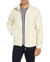 White Fleece Zip Sweater