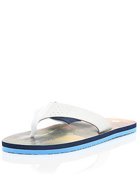 River Island White Palm Tree Print Sole Flip Flops
