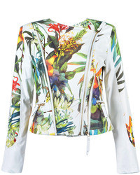 Choies Leaf And Floral Print Zipper Pu Jacket