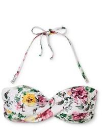 Sea Angel Bridal Steel Magnolia Floral Twist Front Bandeau Bikini Swim Top White