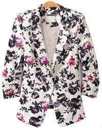Black Lapel Single Breasted Florals Slim Blazer