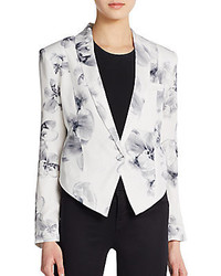 Floral print silk cropped jacket medium 174642