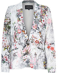River Island Grey Floral Print Jacquard Tailored Blazer