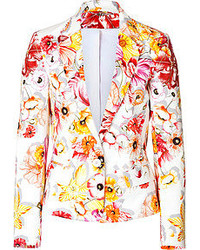 Salvatore Ferragamo Stretch Cotton Floral Print Blazer