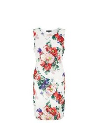 Exclusives new look white floral print sleeveless bodycon dress medium 242697