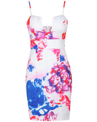 Spaghetti strap floral print bodycon dress medium 242696