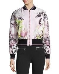Floral print zip front bomber jacket pinkwhite medium 843051