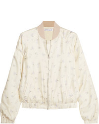 Jacque floral print silk satin bomber jacket ivory medium 5261098