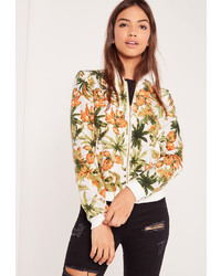 Missguided tropical print bomber jacket medium 843052