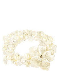 Lita mother of pearl flower with white fresh water pearl stretch bracelet medium 70572