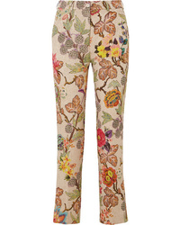 Etro Cropped Floral Brocade Straight Leg Pants