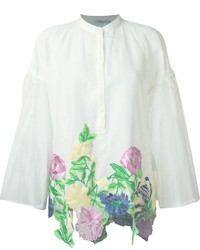 Blumarine wide sleeve floral embroidered applique blouse medium 582945